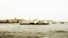 Ferry is cruising at Istanbul, background Stock Footage