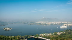 Aerial view of Lake Pichola with Lake Palace (Jag Niwas) and Jag Mandir (Lake Stock Footage