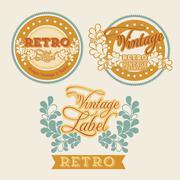 retro label over beige background vector illustration - stock illustration