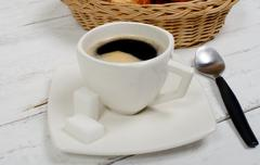 French breakfast with coffee and pastries Stock Photos
