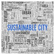 sustainable city concept in word tag cloud design - stock illustration