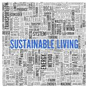 Sustainable living concept word tag cloud design Stock Illustration