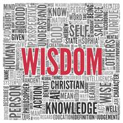 Wisdom related word concept in word tag cloud Stock Illustration