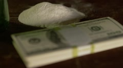 Stock Video Footage of American Money and Drugs - Close up Cocaine