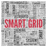 Smart grid concept in word tag cloud design Stock Illustration