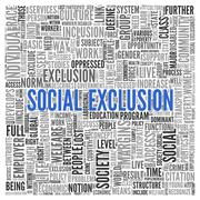 Social exclusion concept in word tag cloud design Stock Illustration