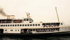 Domestic Istanbul ferry departing with black smoke  Stock Footage