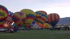 Hot air balloon sunrise take off 4K 008 Stock Footage