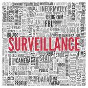 Surveillance concept in word tag cloud design Stock Illustration