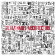 Sustainable architecture word tag cloud design Stock Illustration