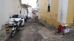 Intersection of Narrow Streets with Residential Houses in the Pelourinho Center Stock Footage