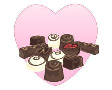 chocolate selection - stock illustration