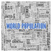world population concept in word tag cloud design - stock illustration