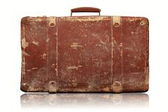 Old vintage suitcase isolated on white background Stock Photos
