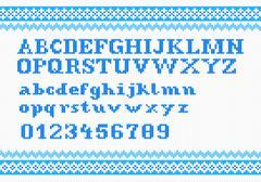 Stock Illustration of white knitting alphabet on red background