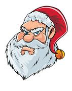 Cartoon mean Santa Claus head - stock illustration