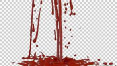 Animated dripping and splashing blood against transparent background 2 Stock Footage