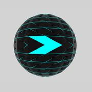 Isolated right arrow drawing on disco sphere like trendy modern web button Stock Illustration