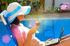 Enjoying with a glass wine - stock photo
