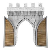 isolated opened medieval gate with wood door illustration - stock illustration