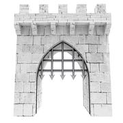isolated medieval gate with steel lattice opening illustration - stock illustration