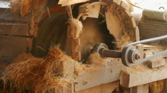 Machine to make rope from coconut fiber in Pathein, Myanmar, Burma Stock Footage