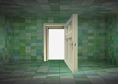 Tile covered room interior and open door to space illustration Stock Illustration