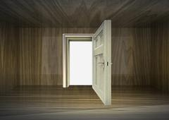 Wood covered room interior and open door to space illustration Stock Illustration