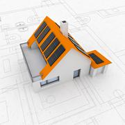 isolated rendering of sustainable house concept plan with solar pannels - stock illustration