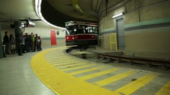 TTC streetcar coming to station Stock Footage