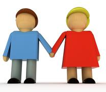 two figures young man and women couple holding hands in romantic relationship - stock illustration