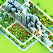 enviromantal new sustainable city concept development illustration - stock illustration