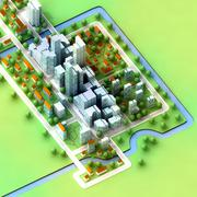 landscape bird view on new sustainable city concept development illustration - stock illustration