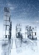 modern business skyscraper city with sky at snowfall - stock illustration