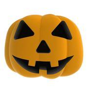 isolated autumn horror pumpkin smilling on white  illustration - stock illustration