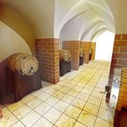 Stock Illustration of barrels of alcohol drink underground cellar render illustration