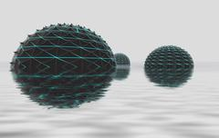 Stock Illustration of three conceptual half spheres shape set in the water with reflections