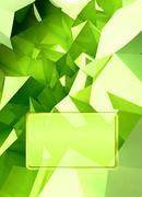 Green triangular three dimensional shape card cover illustration render Stock Illustration