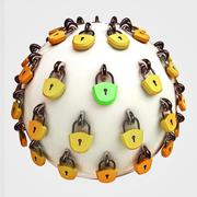 security concept diagram as safety sphere locked with lockers and one correct - stock illustration