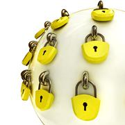 Detail security concept diagram as safety sphere locked with lockers Stock Illustration