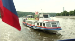 Boats on the river removed from the ship in the summer (with the Russian flag) Stock Footage