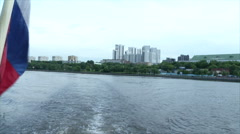 Moscow river embankment removed from the ship in the summer Stock Footage