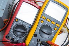 Multimeter. instrument for measuring voltage Stock Photos