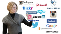 Young woman with social media icons on white isolated background. Follow us Arkistovideo