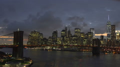 A timelapse of the New York skyline at night. - stock footage