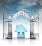 Stock Illustration of open baroque gate with blue house and sky illustration
