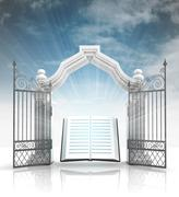 Open baroque gate with holy bible and sky illustration Stock Illustration