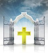 Open baroque gate with golden cross and sky illustration Piirros