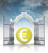 open baroque gate with euro coin and sky illustration - stock illustration