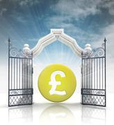 open baroque gate with pound coin and sky illustration - stock illustration
